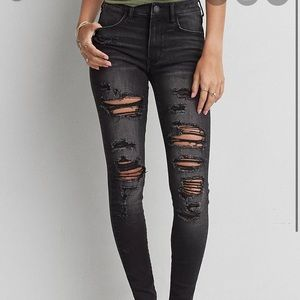 American Eagle Hi Rise Jegging Destroyed